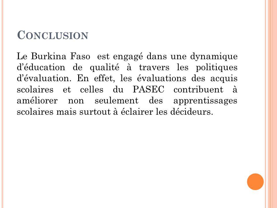 C ONCLUSION Le Burkina Faso est engagé dans une dynamique d'éducation de qualité à travers les politiques d'évaluation.