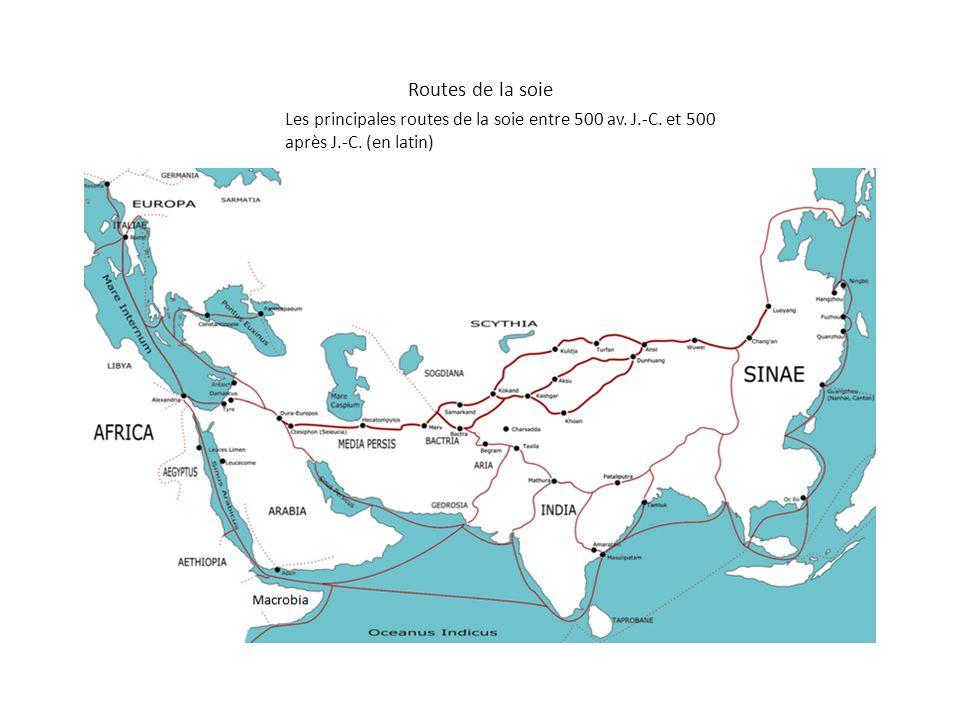 Routes de la soie Les principales routes de la soie entre 500 av. J.-C. et 500 après J.-C. (en latin)