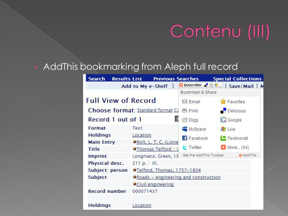 › AddThis bookmarking from Aleph full record