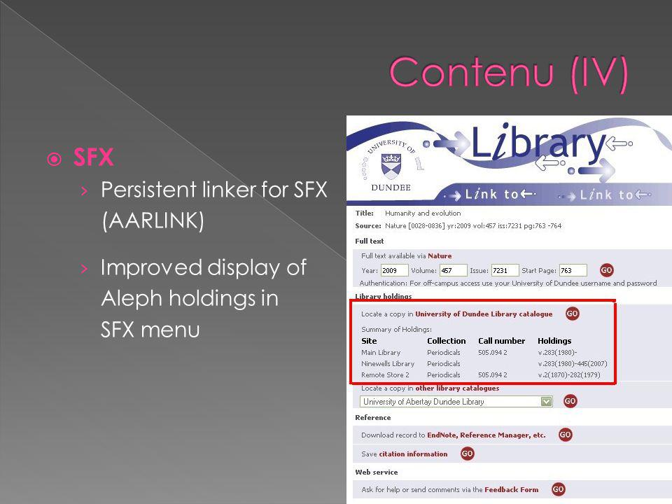  SFX › Persistent linker for SFX (AARLINK) › Improved display of Aleph holdings in SFX menu