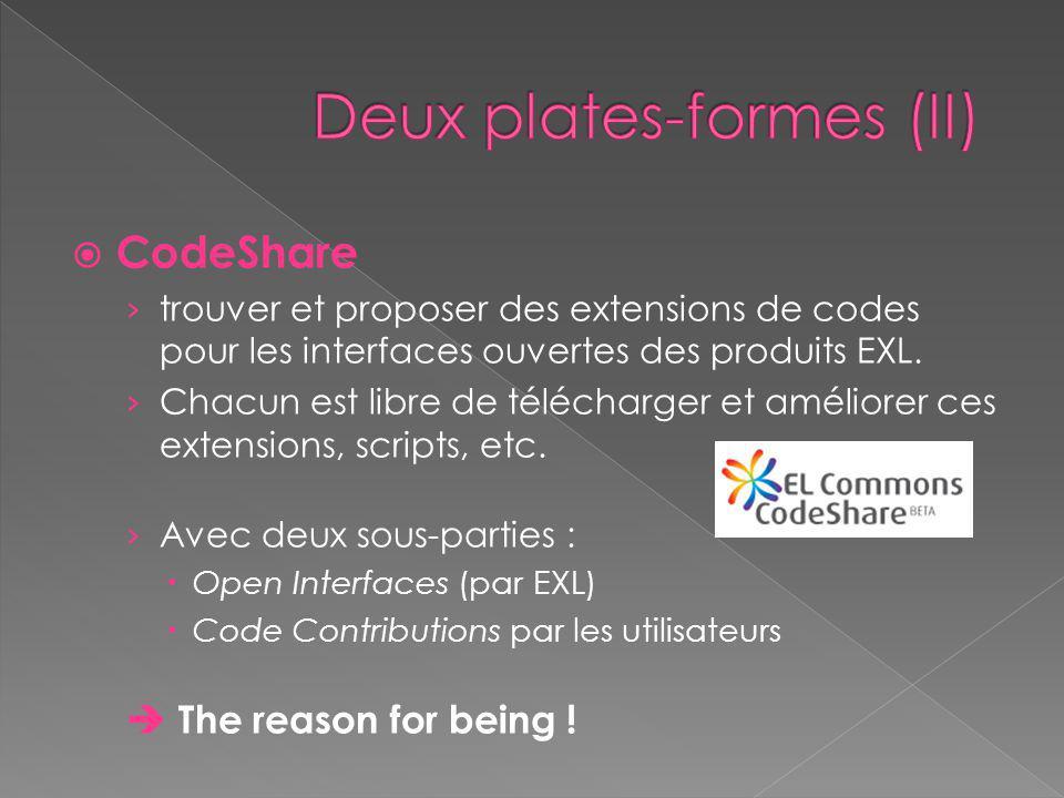  CodeShare › trouver et proposer des extensions de codes pour les interfaces ouvertes des produits EXL.