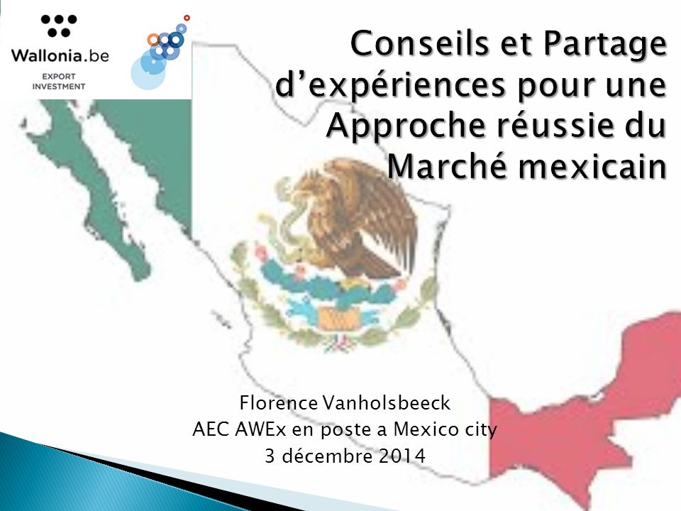  Géographie  Economie  PA: 30 % BE  Pop:12x BE ◦ DF:2xBE ◦ Puebla:1,5x BXL ◦ Monterrey: BXL  Monnaie: 1EUR=17 MXN  Accès
