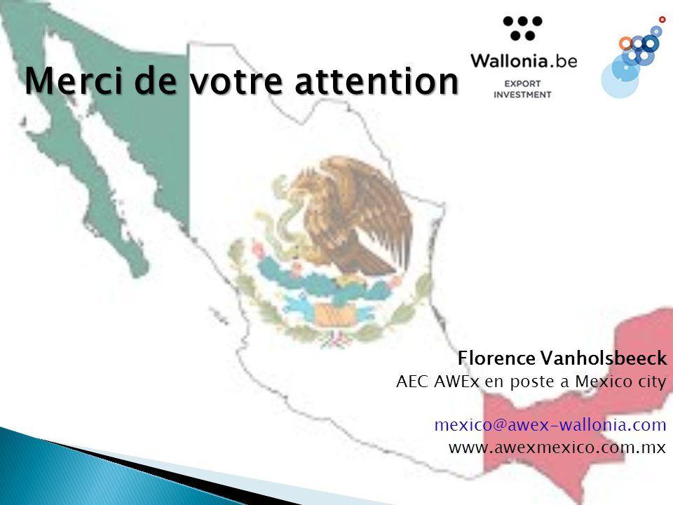 Merci de votre attention Florence Vanholsbeeck AEC AWEx en poste a Mexico city mexico@awex-wallonia.com www.awexmexico.com.mx