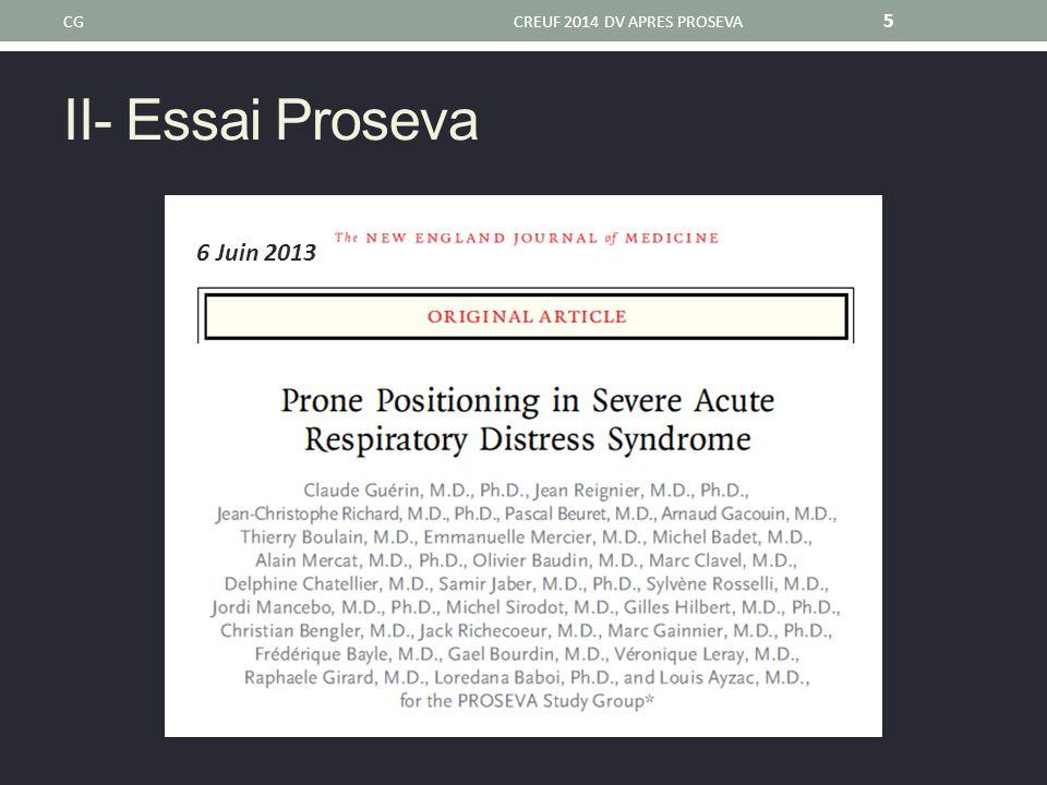 Essai Proseva 1.SDRA confirmé après 12-24 heures 2.