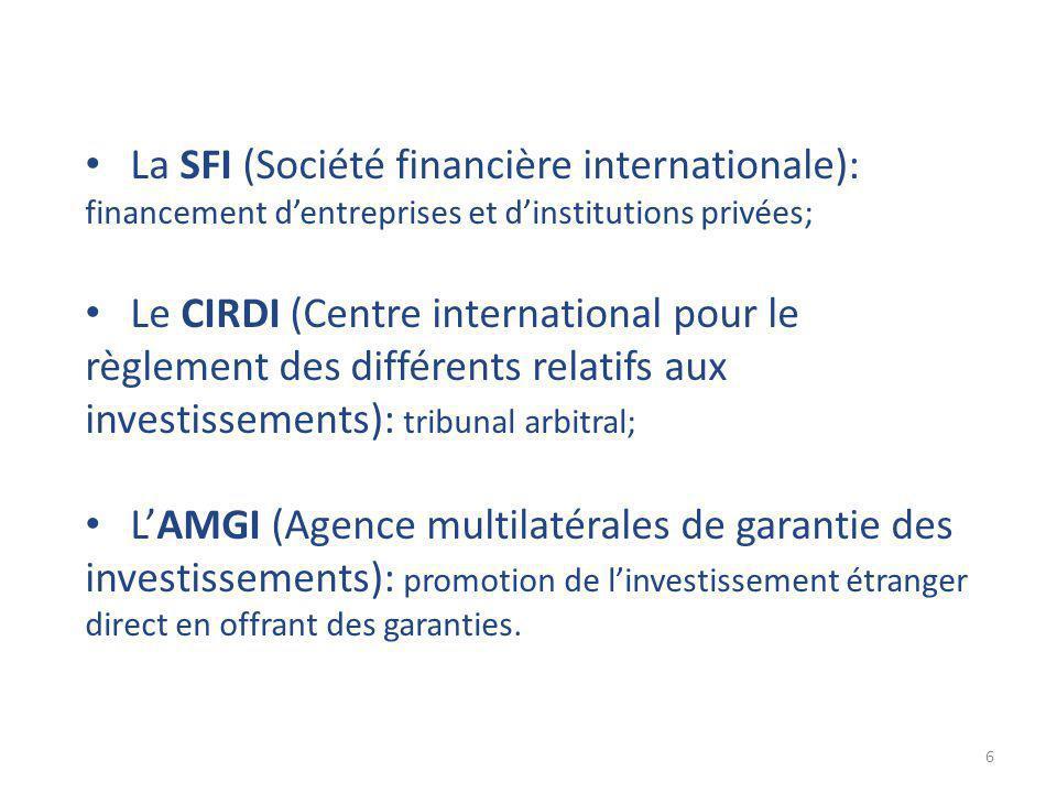 6 La SFI (Société financière internationale): financement d'entreprises et d'institutions privées; Le CIRDI (Centre international pour le règlement des différents relatifs aux investissements): tribunal arbitral; L'AMGI (Agence multilatérales de garantie des investissements): promotion de l'investissement étranger direct en offrant des garanties.