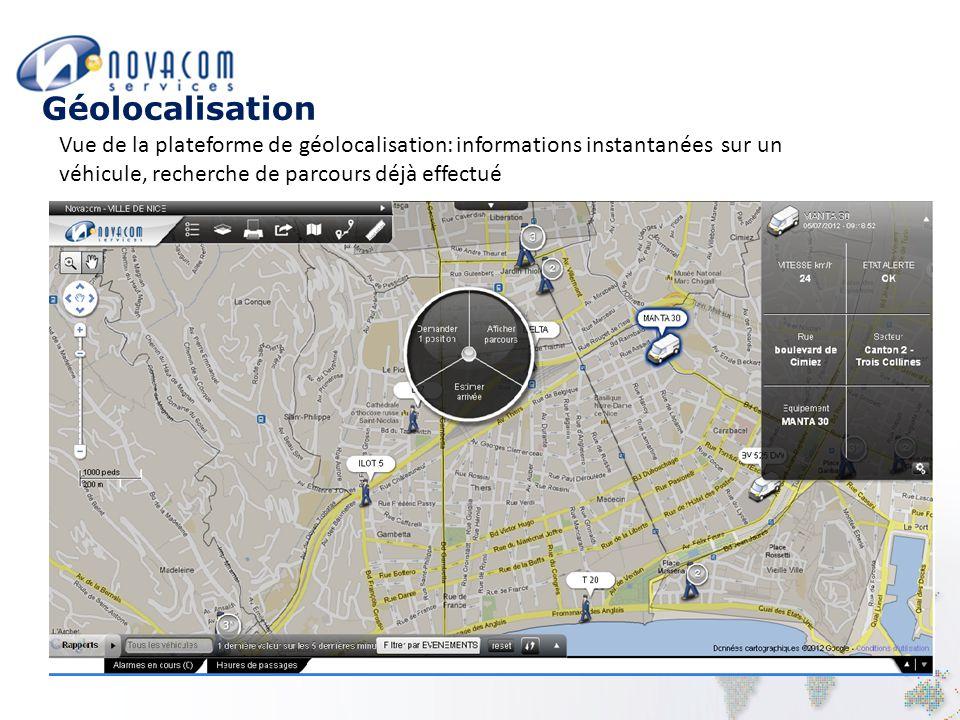 Géolocalisation Vue de la plateforme de géolocalisation: informations instantanées sur un véhicule, recherche de parcours déjà effectué