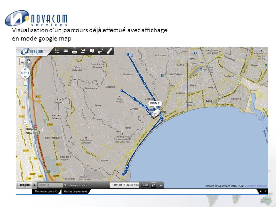 Visualisation d'un parcours déjà effectué avec affichage en mode google map