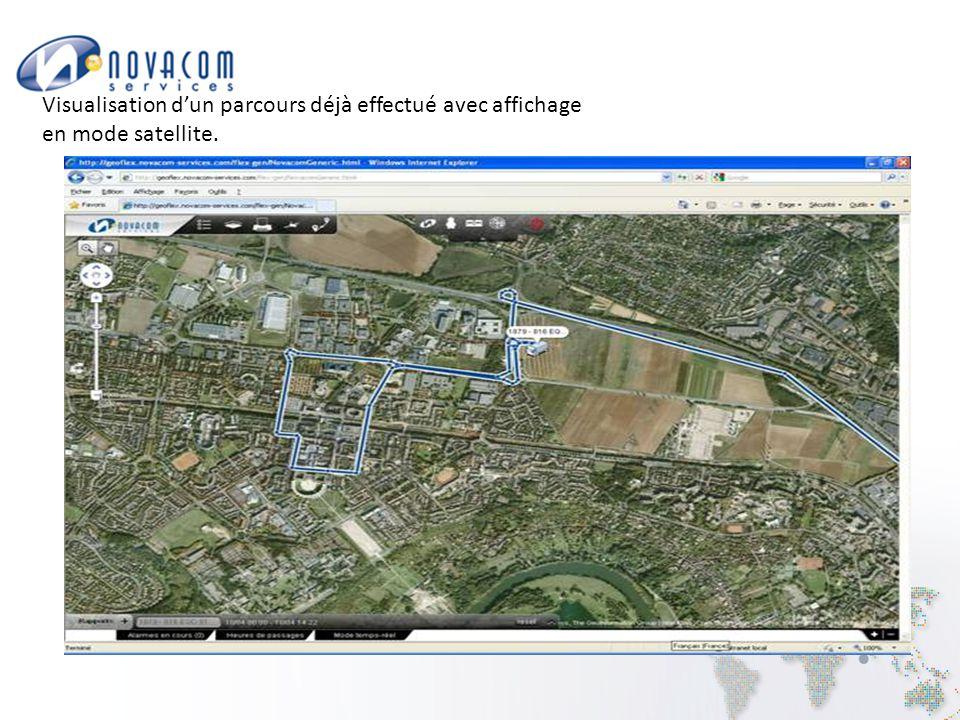 Visualisation d'un parcours déjà effectué avec affichage en mode satellite.
