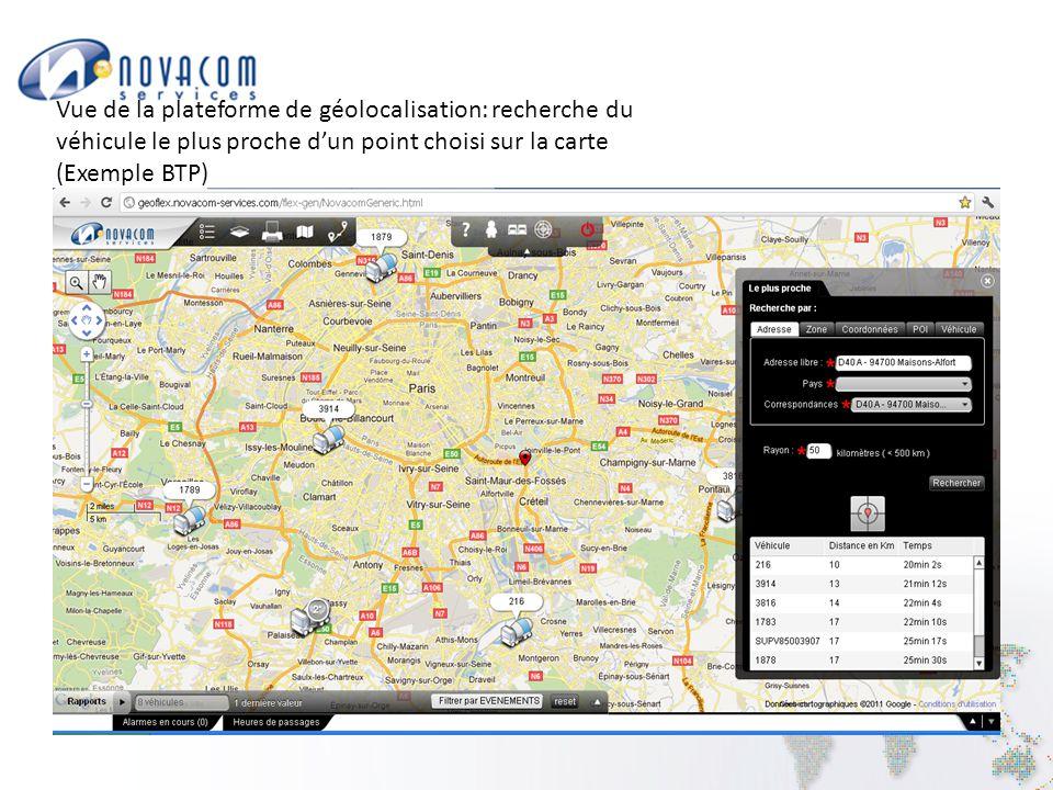 Vue de la plateforme de géolocalisation: recherche du véhicule le plus proche d'un point choisi sur la carte (Exemple BTP)