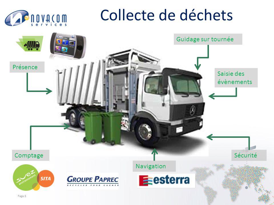 Collecte de déchets Page 8 Présence Guidage sur tournée ComptageSécurité Saisie des évènements Navigation