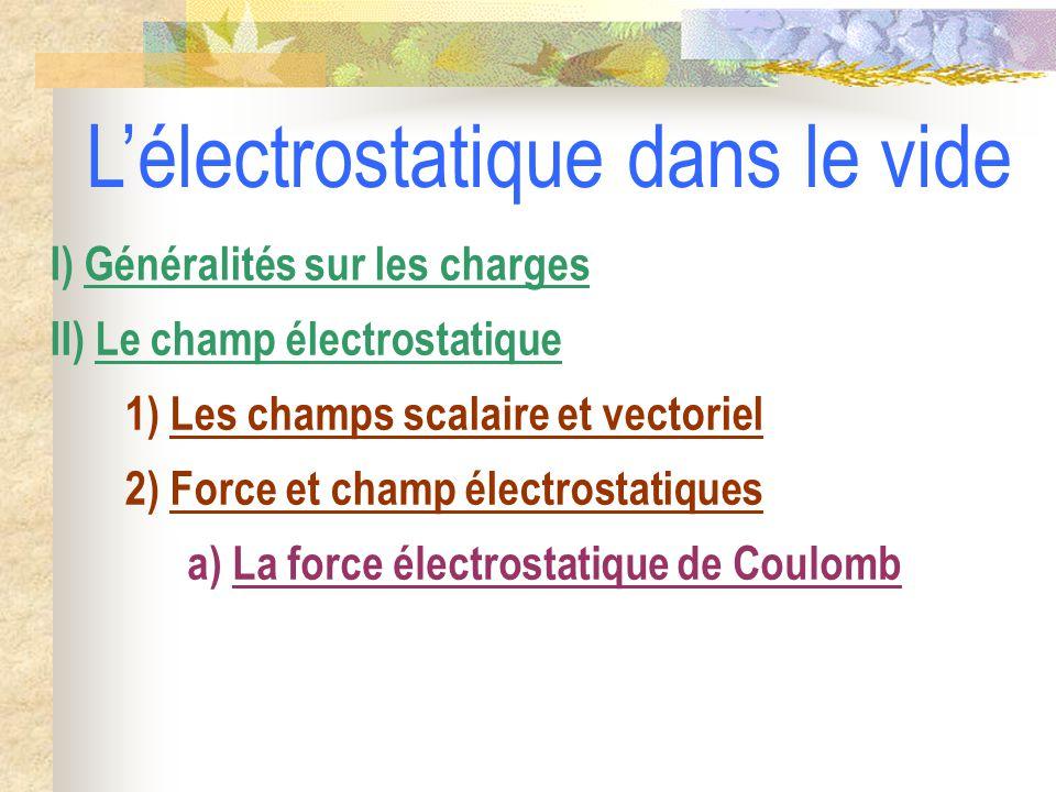 2) Force et champ électrostatiques a) La force électrostatique de Coulomb 1) Les champs scalaire et vectoriel II) Le champ électrostatique I) Généralités sur les charges L'électrostatique dans le vide