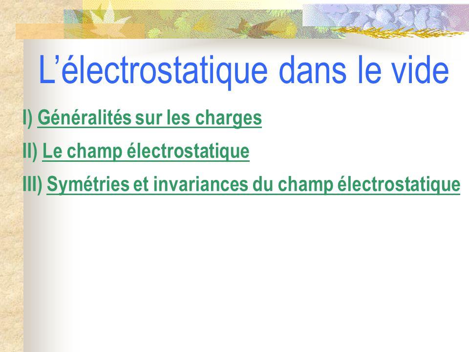 III) Symétries et invariances du champ électrostatique II) Le champ électrostatique I) Généralités sur les charges L'électrostatique dans le vide