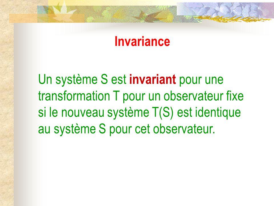 Invariance Un système S est invariant pour une transformation T pour un observateur fixe si le nouveau système T(S) est identique au système S pour cet observateur.