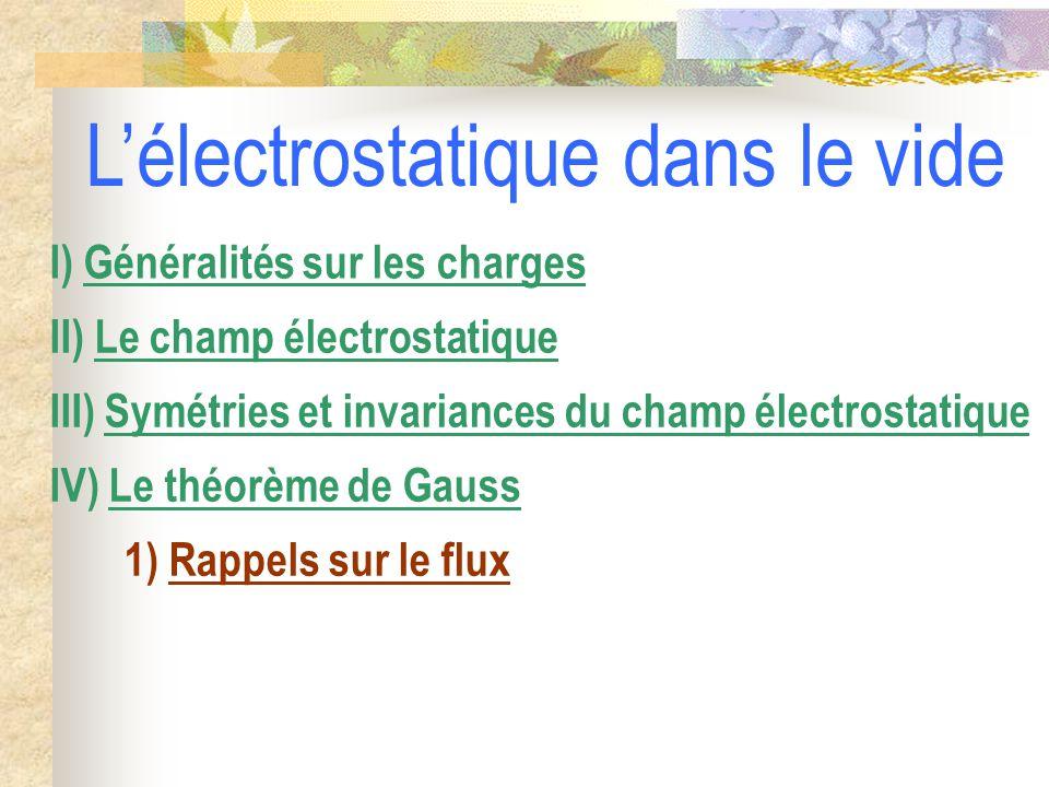 1) Rappels sur le flux IV) Le théorème de Gauss III) Symétries et invariances du champ électrostatique II) Le champ électrostatique I) Généralités sur les charges L'électrostatique dans le vide
