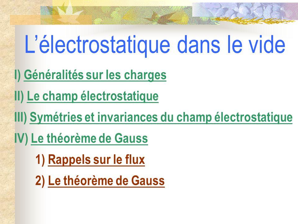 2) Le théorème de Gauss 1) Rappels sur le flux IV) Le théorème de Gauss III) Symétries et invariances du champ électrostatique II) Le champ électrostatique I) Généralités sur les charges L'électrostatique dans le vide