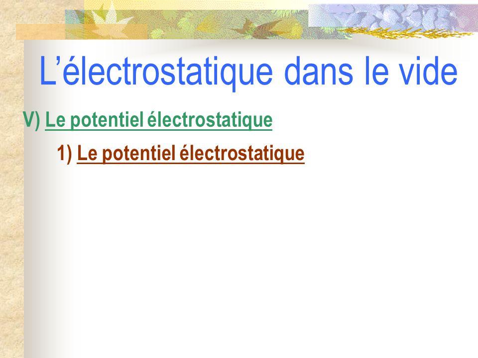 1) Le potentiel électrostatique V) Le potentiel électrostatique L'électrostatique dans le vide
