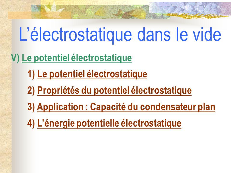 1) Le potentiel électrostatique 2) Propriétés du potentiel électrostatique V) Le potentiel électrostatique 3) Application : Capacité du condensateur plan L'électrostatique dans le vide 4) L'énergie potentielle électrostatique