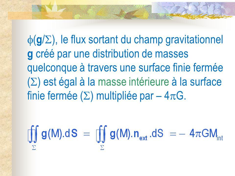 ( g /  ), le flux sortant du champ gravitationnel g créé par une distribution de masses quelconque à travers une surface finie fermée (  ) est égal à la masse intérieure à la surface finie fermée (  ) multipliée par – 4  G.