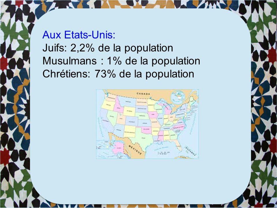 En France: Juifs: 3.5% de la population Musulmans : 7,5% de la population Chrétiens : 63% de la population