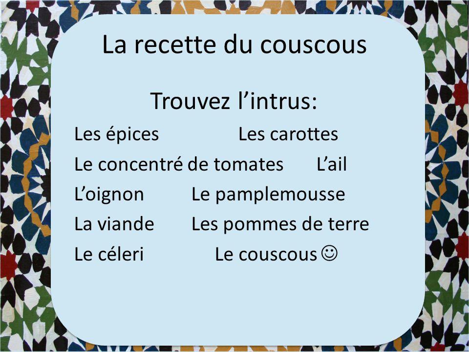 Vidéo (00:00 – 2:00) Comment préparer le couscous http://www.wat.tv/video/couscous-tunisien-12x4k_2hj47_. Combien d'ingrédients met-elle dans le cousc