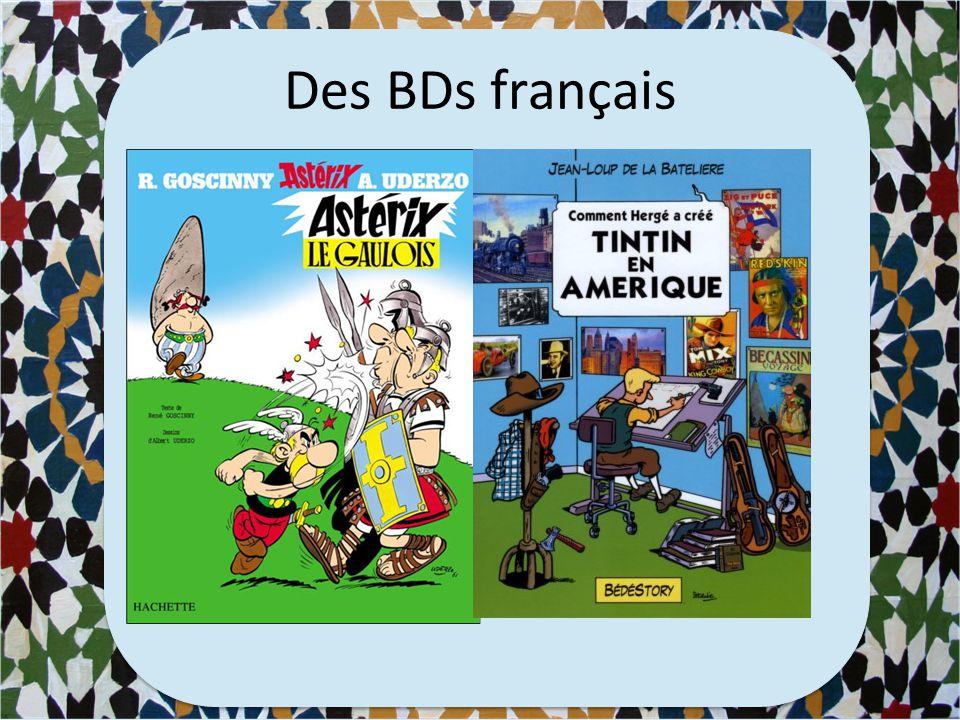 Nommez des BDs en français et en anglais 1 point en pour un BD en anglais, 2points en français
