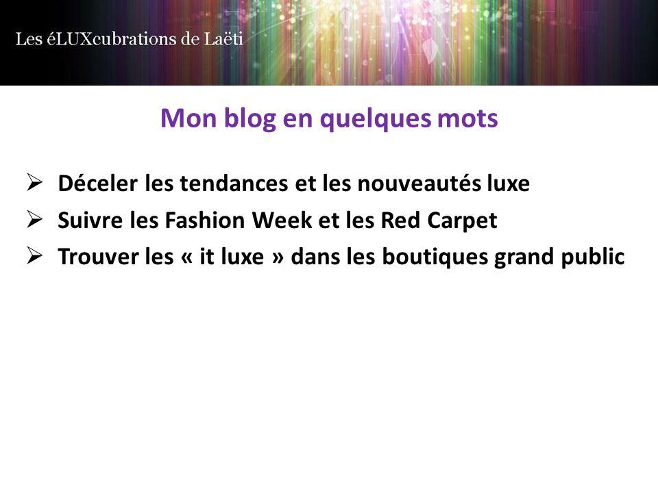 Mon blog en quelques mots  Déceler les tendances et les nouveautés luxe  Suivre les Fashion Week et les Red Carpet  Trouver les « it luxe » dans les boutiques grand public