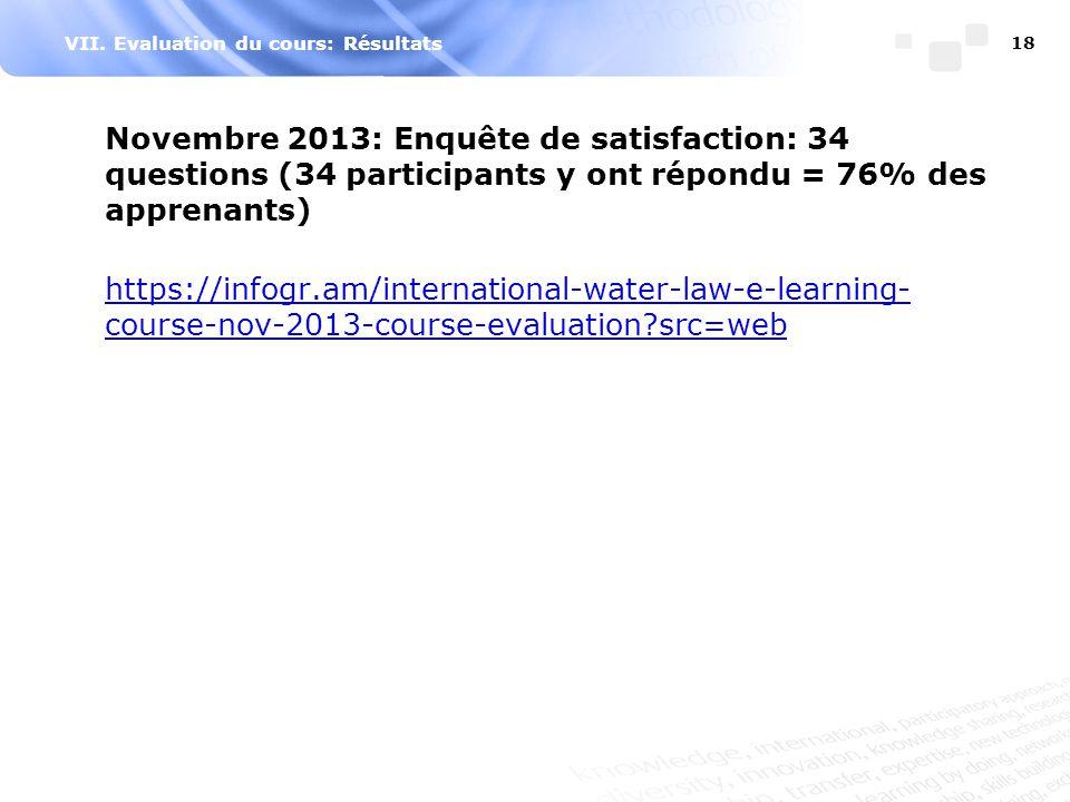 VII. Evaluation du cours: Résultats Novembre 2013: Enquête de satisfaction: 34 questions (34 participants y ont répondu = 76% des apprenants) https://