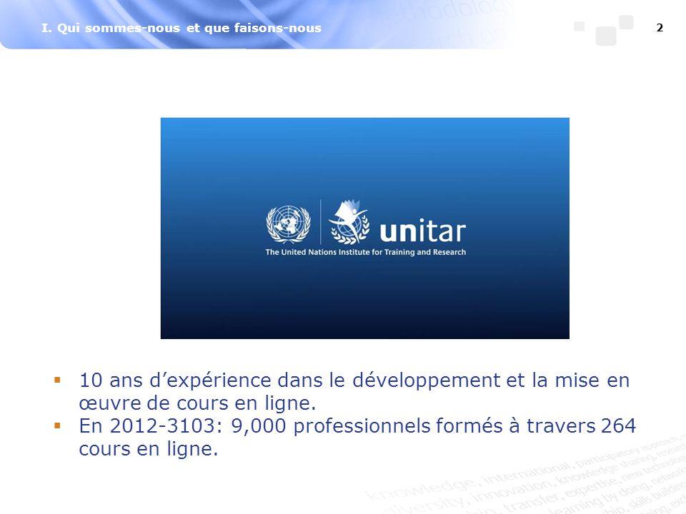 I. Qui sommes-nous et que faisons-nous 2  10 ans d'expérience dans le développement et la mise en œuvre de cours en ligne.  En 2012-3103: 9,000 prof