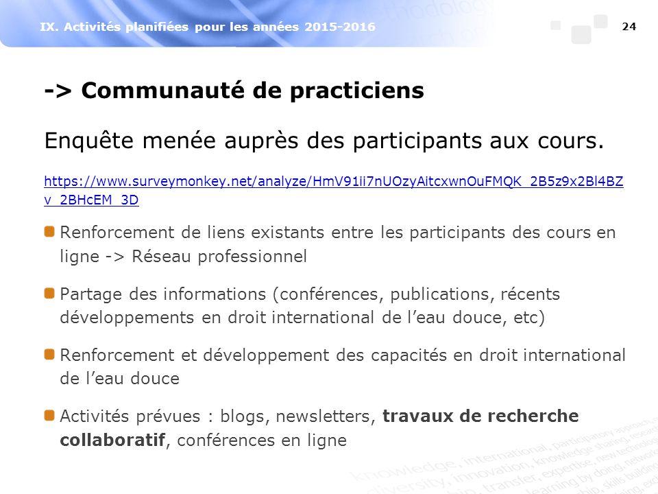 IX. Activités planifiées pour les années 2015-2016 -> Communauté de practiciens Enquête menée auprès des participants aux cours. https://www.surveymon