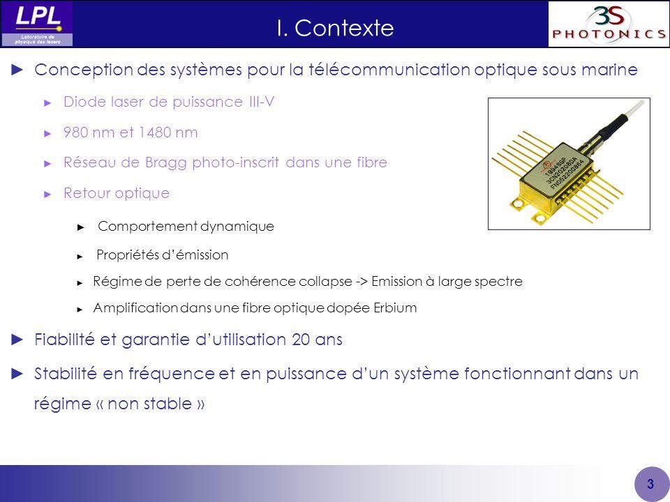 I. Contexte 3 ►Conception des systèmes pour la télécommunication optique sous marine ► Diode laser de puissance III-V ► 980 nm et 1480 nm ► Réseau de