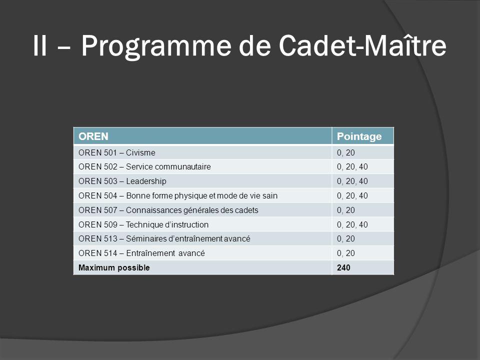 II – Programme de Cadet-Maître ORENPointage OREN 501 – Civisme0, 20 OREN 502 – Service communautaire0, 20, 40 OREN 503 – Leadership0, 20, 40 OREN 504