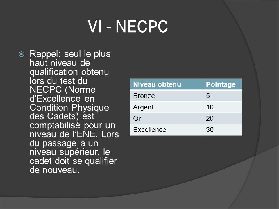 VI - NECPC  Rappel: seul le plus haut niveau de qualification obtenu lors du test du NECPC (Norme d'Excellence en Condition Physique des Cadets) est