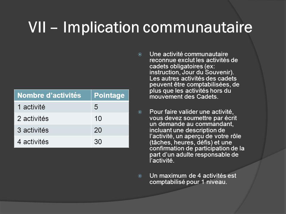 VII – Implication communautaire Nombre d'activitésPointage 1 activité5 2 activités10 3 activités20 4 activités30  Une activité communautaire reconnue exclut les activités de cadets obligatoires (ex: instruction, Jour du Souvenir).