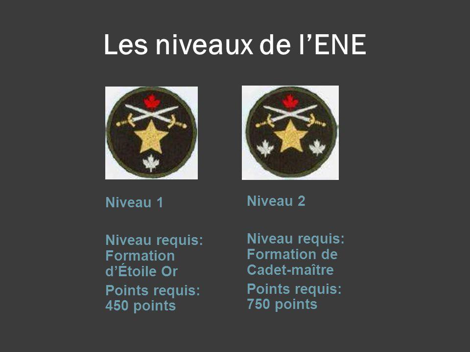 Les niveaux de l'ENE Niveau 1 Niveau requis: Formation d'Étoile Or Points requis: 450 points Niveau 2 Niveau requis: Formation de Cadet-maître Points requis: 750 points