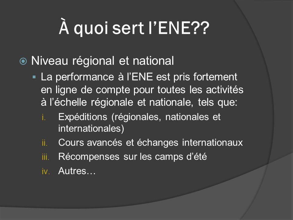 À quoi sert l'ENE??  Niveau régional et national  La performance à l'ENE est pris fortement en ligne de compte pour toutes les activités à l'échelle