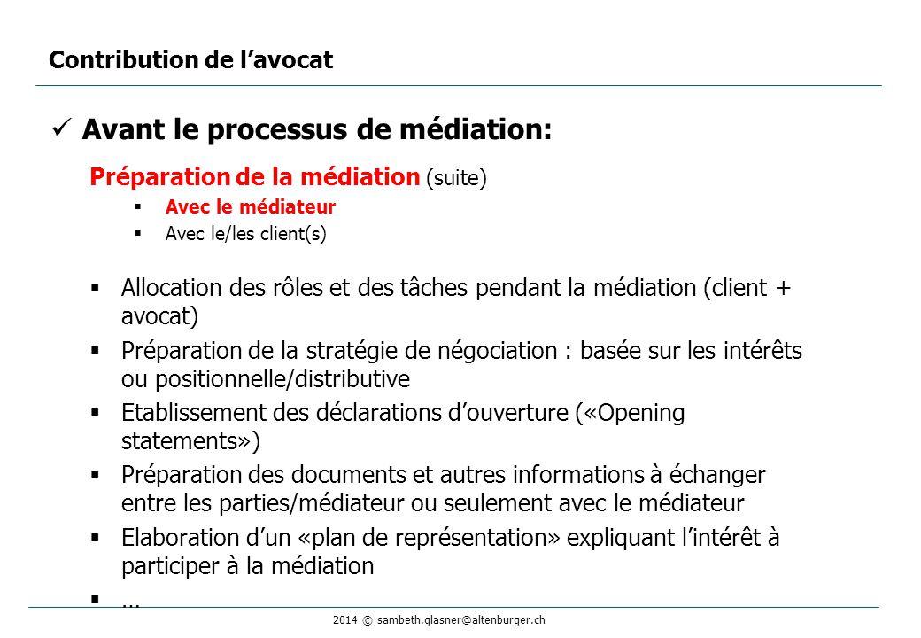 2014 © sambeth.glasner@altenburger.ch Avant le processus de médiation: Préparation de la médiation (suite)  Avec le médiateur  Avec le/les client(s)