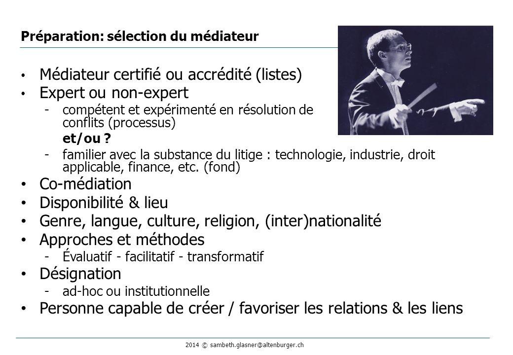 2014 © sambeth.glasner@altenburger.ch Préparation: sélection du médiateur Médiateur certifié ou accrédité (listes) Expert ou non-expert -compétent et expérimenté en résolution de conflits (processus) et/ou .