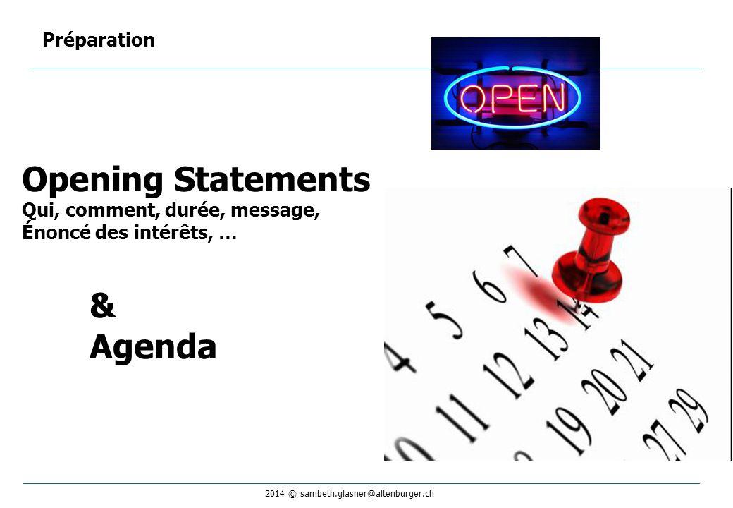 2014 © sambeth.glasner@altenburger.ch Opening Statements Qui, comment, durée, message, Énoncé des intérêts, … & Agenda Préparation