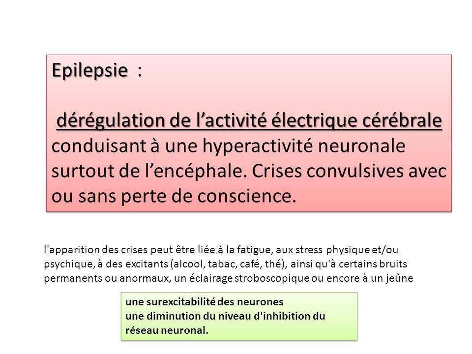 Epilepsie Epilepsie : dérégulation de l'activité électrique cérébrale dérégulation de l'activité électrique cérébrale conduisant à une hyperactivité n