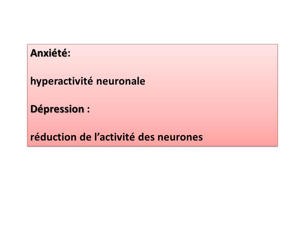 Anxiété Anxiété: hyperactivité neuronale Dépression Dépression : réduction de l'activité des neurones Anxiété Anxiété: hyperactivité neuronale Dépress