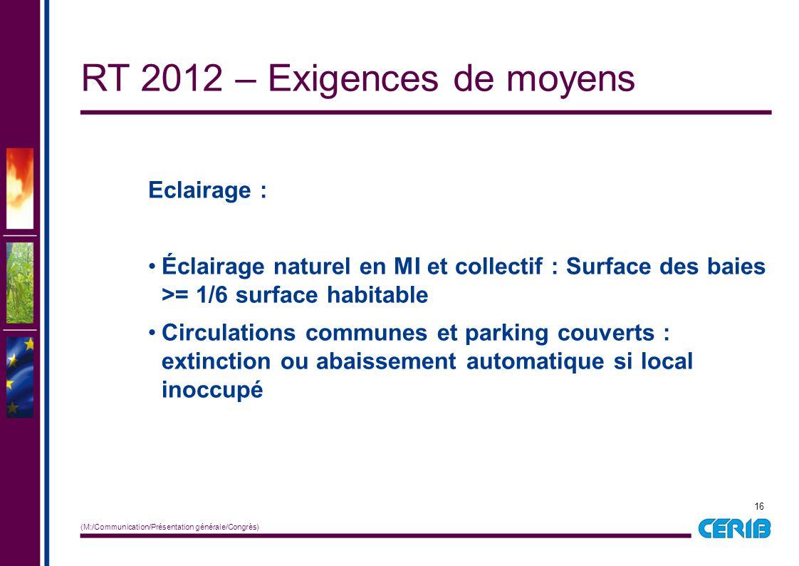 16 (M:/Communication/Présentation générale/Congrès) Eclairage : Éclairage naturel en MI et collectif : Surface des baies >= 1/6 surface habitable Circ