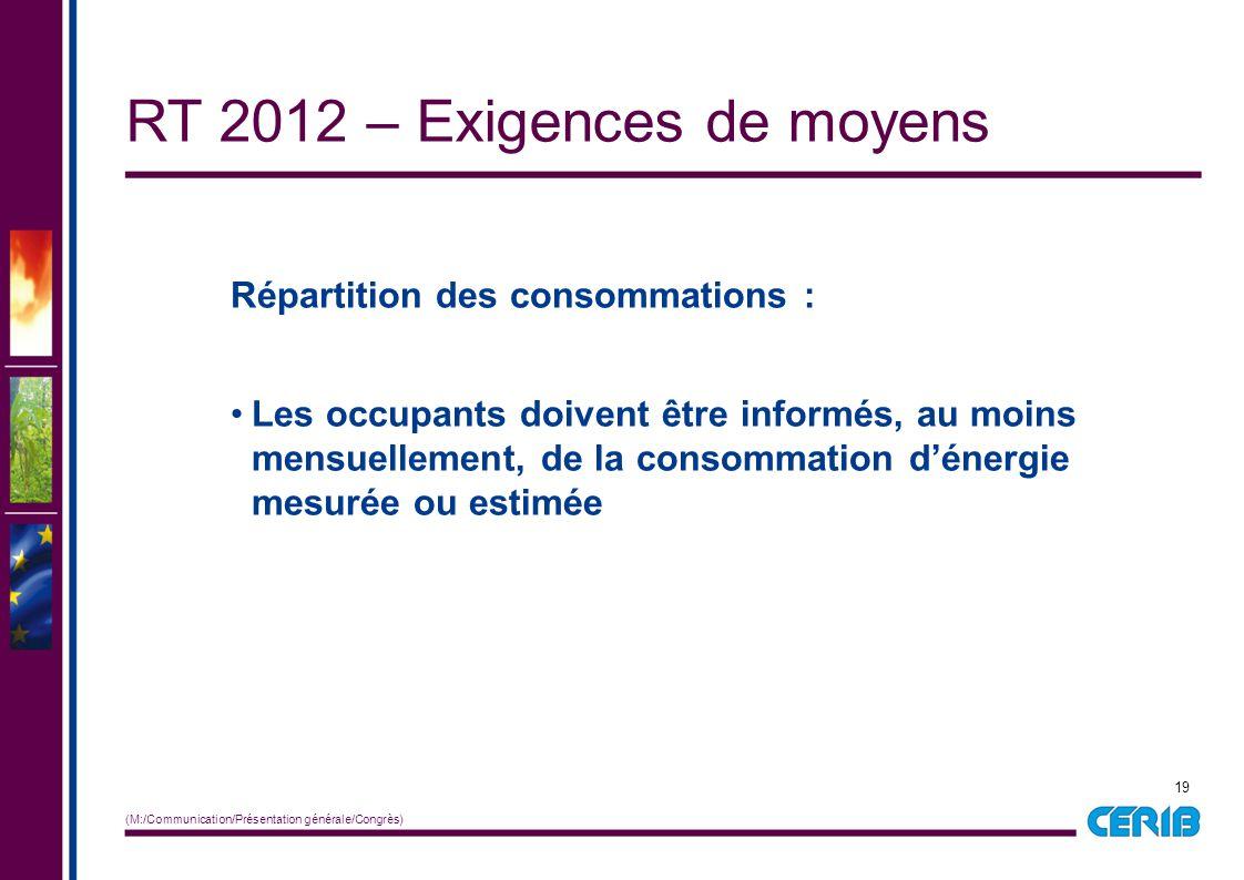 19 (M:/Communication/Présentation générale/Congrès) Répartition des consommations : Les occupants doivent être informés, au moins mensuellement, de la