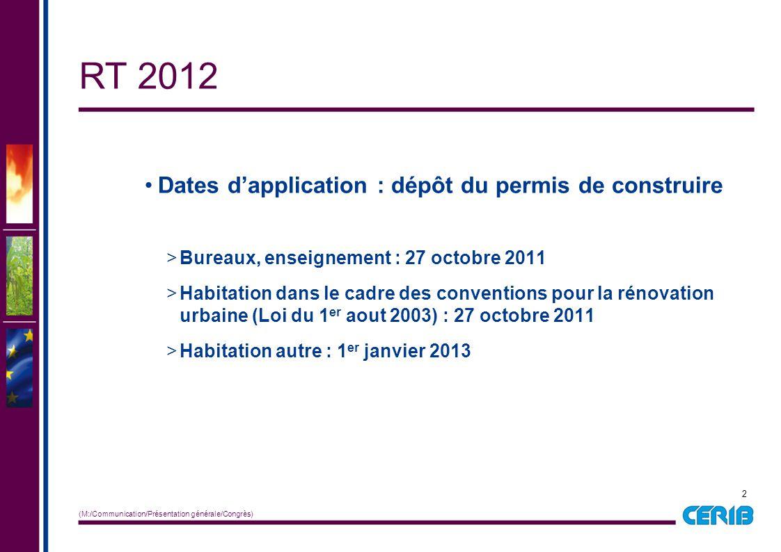 2 (M:/Communication/Présentation générale/Congrès) RT 2012 Dates d'application : dépôt du permis de construire >Bureaux, enseignement : 27 octobre 201