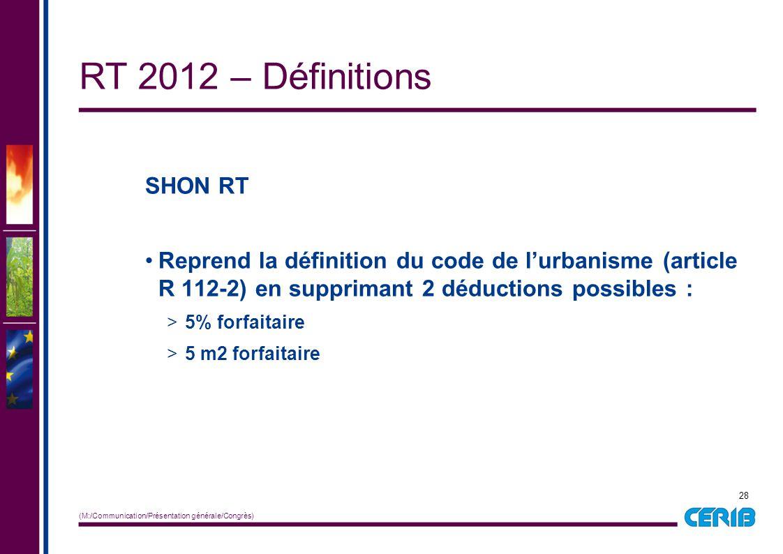 28 (M:/Communication/Présentation générale/Congrès) SHON RT Reprend la définition du code de l'urbanisme (article R 112-2) en supprimant 2 déductions