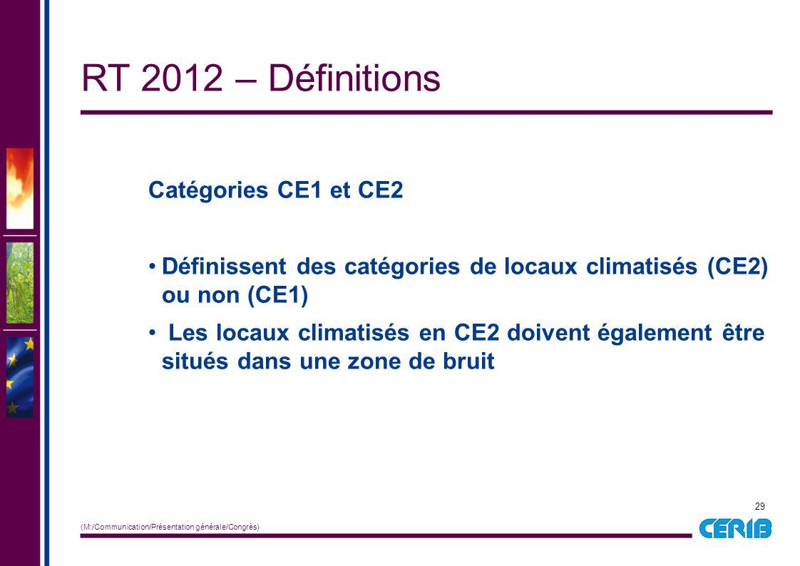 29 (M:/Communication/Présentation générale/Congrès) Catégories CE1 et CE2 Définissent des catégories de locaux climatisés (CE2) ou non (CE1) Les locau
