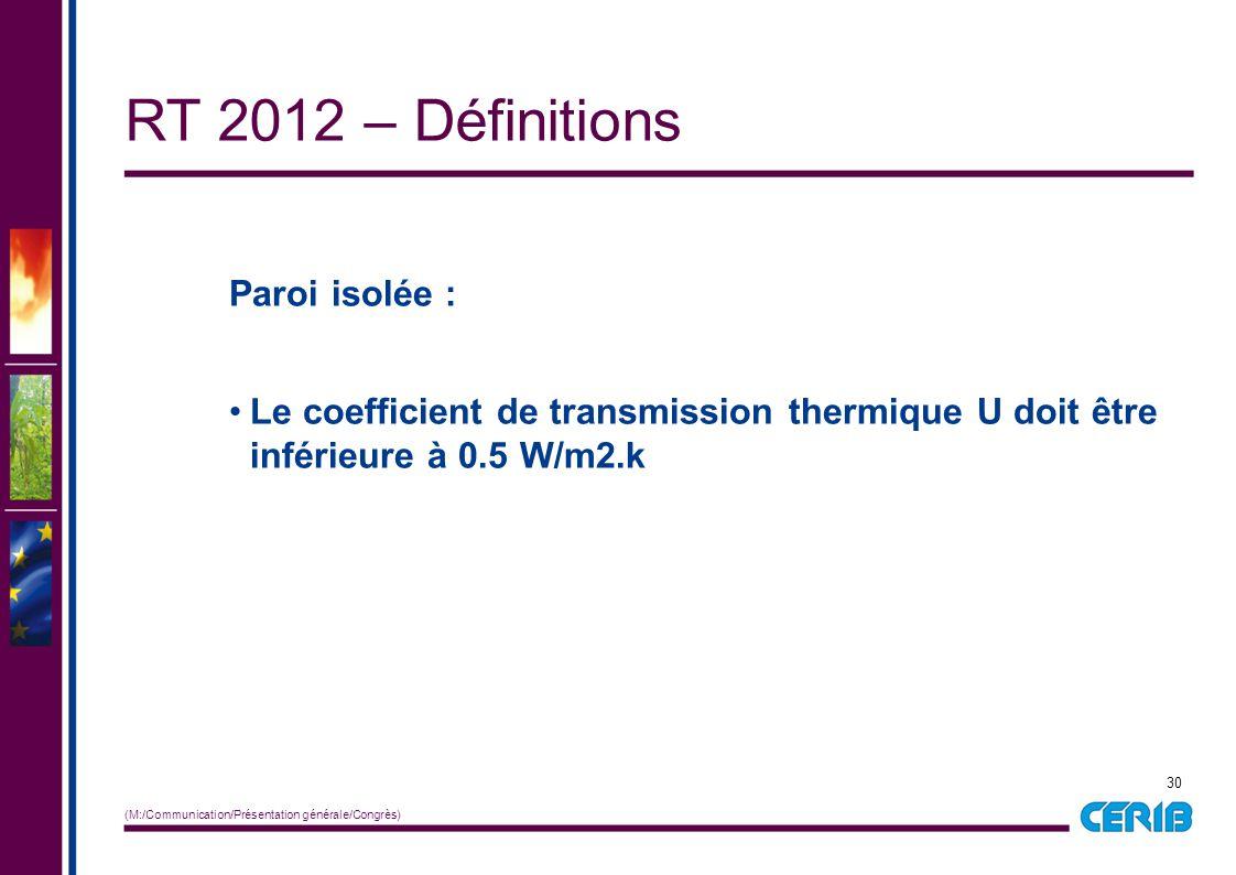 30 (M:/Communication/Présentation générale/Congrès) Paroi isolée : Le coefficient de transmission thermique U doit être inférieure à 0.5 W/m2.k RT 201
