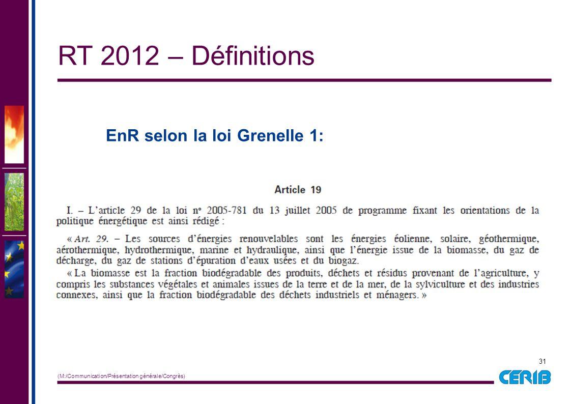 31 (M:/Communication/Présentation générale/Congrès) EnR selon la loi Grenelle 1: RT 2012 – Définitions