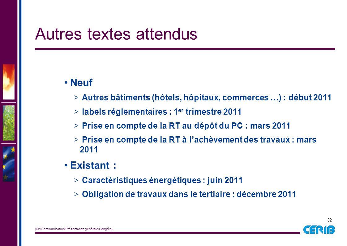 32 (M:/Communication/Présentation générale/Congrès) Neuf > Autres bâtiments (hôtels, hôpitaux, commerces …) : début 2011 > labels réglementaires : 1 e