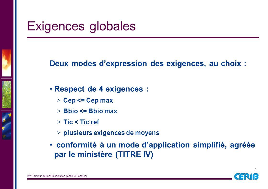 5 (M:/Communication/Présentation générale/Congrès) Deux modes d'expression des exigences, au choix : Respect de 4 exigences : > Cep <= Cep max > Bbio