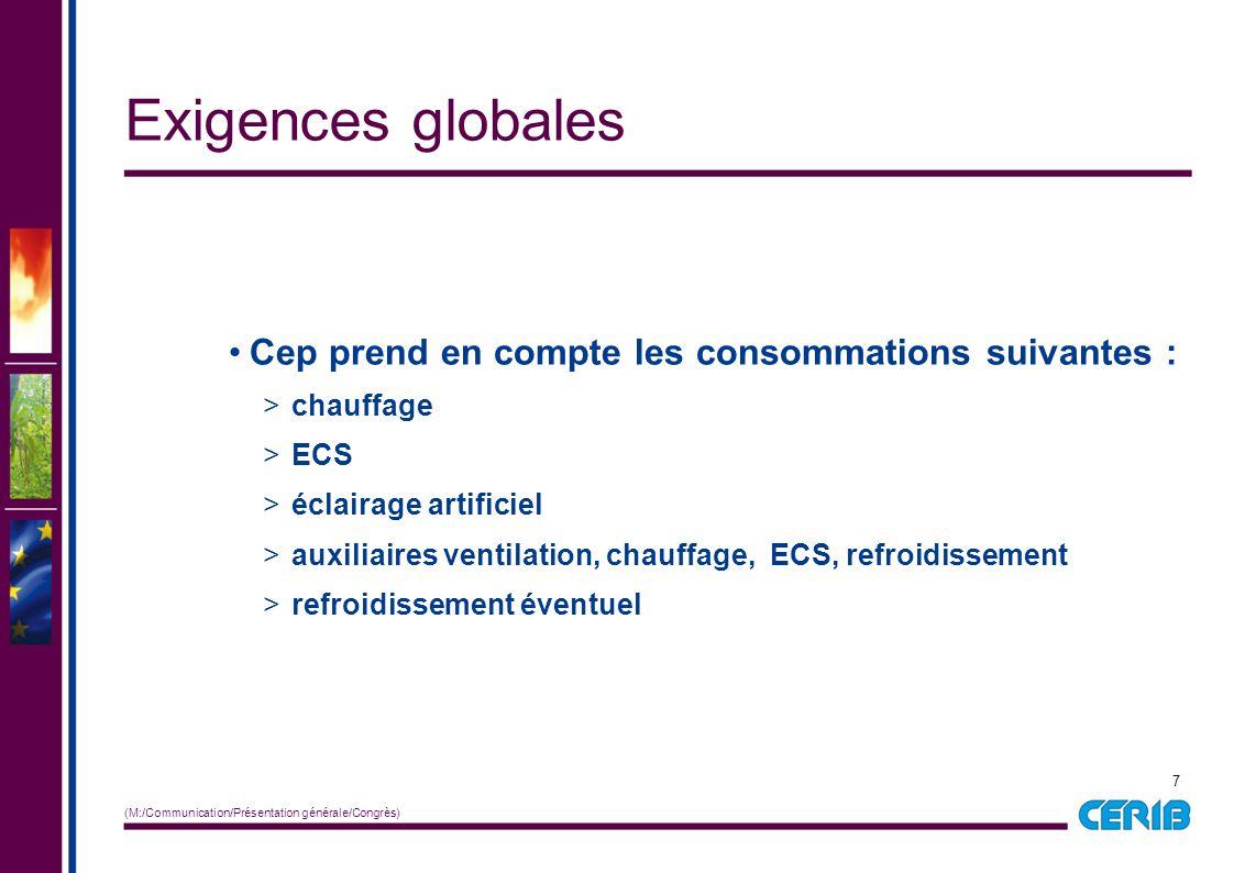 7 (M:/Communication/Présentation générale/Congrès) Cep prend en compte les consommations suivantes : > chauffage > ECS > éclairage artificiel > auxili